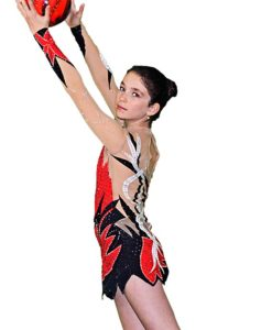 FlamingoSportswear - Long Sleeve Gymnastics Leotard for Girls Black - Red