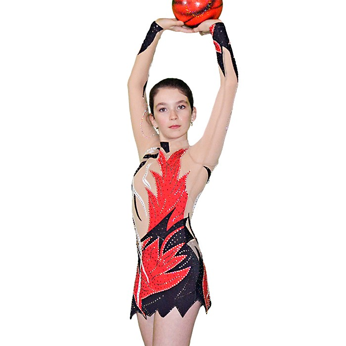Long Sleeve Gymnastics Leotard for Girls Black-Red - FlamingoSportswear