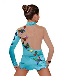 Blue with Butterflies Girls Gymnastics Leotard