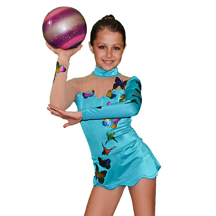 Girls Gymnastics Leotard - Blue with Butterflies