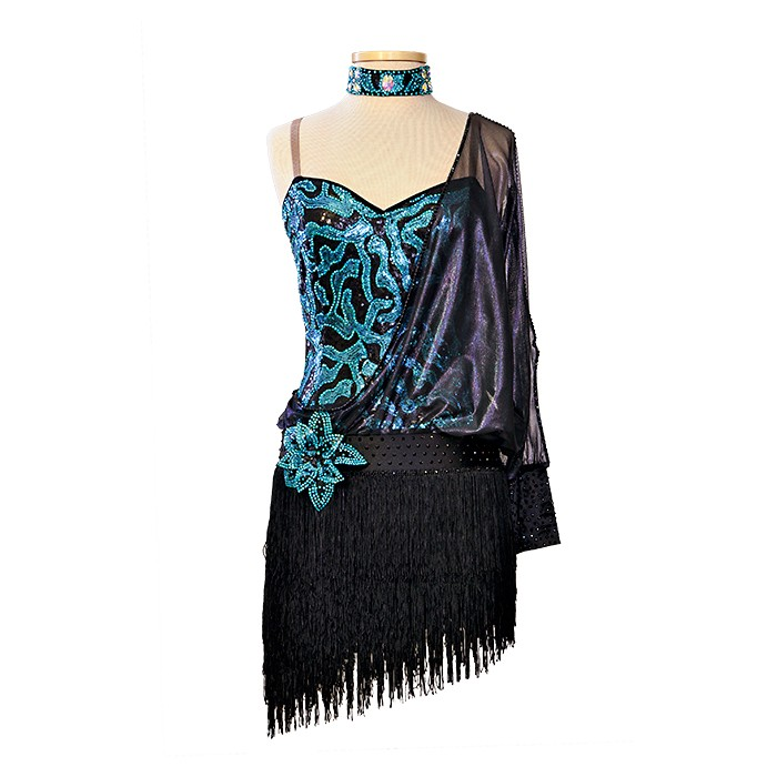 Black-Blue Ballroom Latin Dance Dress