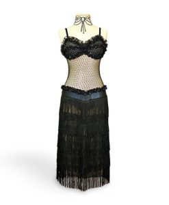 Black Latin Ballroom Dance Dress with Fringe