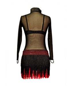 Ballroom Women's Latin Dance Dress with Fringe Black-Red