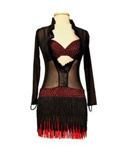 Black-Red Women's Latin Dance Dress with Fringe