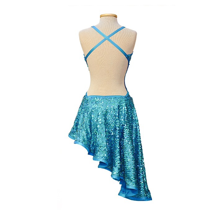 Ballroom Latin Dance Competition Dress Blue Sequins