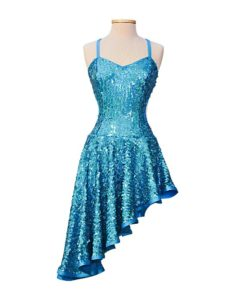 Blue Sequins Ballroom Latin Dance Competition Dress