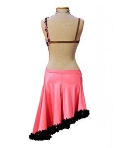 Latin Ballroom Dance Competition Dress - Pink with Black