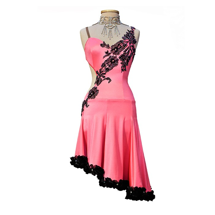 Pink with Black Latin Ballroom Dance Competition Dress