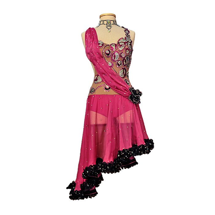 Rose with Sequins Decor Latin Ballroom Dance Dress