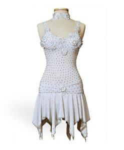 White Ballroom Latin Custom Dance Costume - Dress