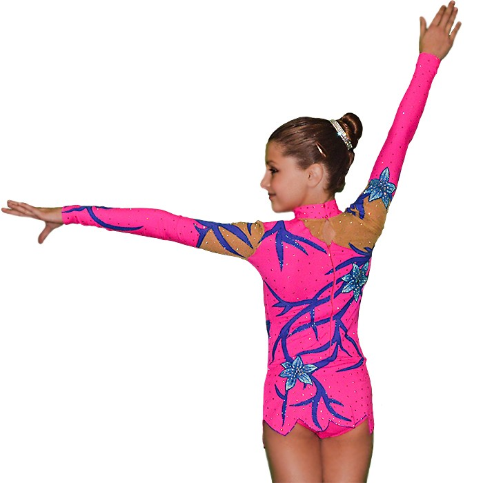 Girls Gymnastics Leotard with Blue Flowers