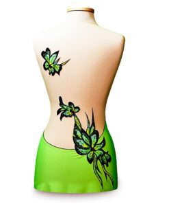 Design your own Leotard! Gymnastics Ice Skating Leotard-Green Flower