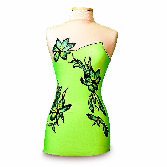 Design your own Leotard! Gymnastics Leotard-Green Flower