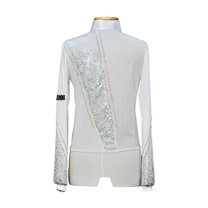 White Sequin decorated Latin Dance Shirt for Men