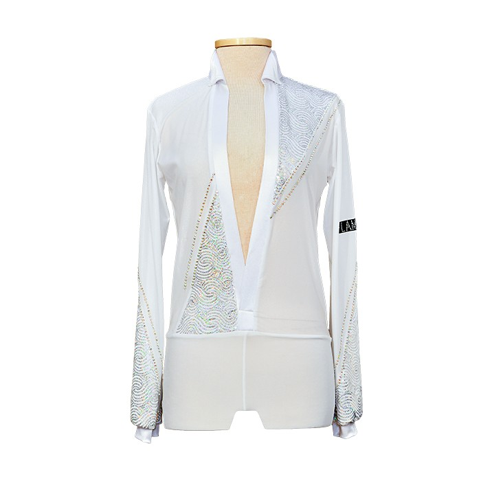 White Latin Dance Shirt for Men with Sequins