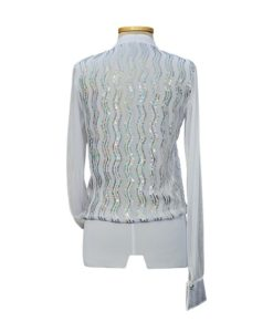 Sequins Mens Latin Ballroom Shirt White