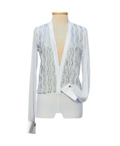 White Sequins Mens Latin Ballroom Shirt