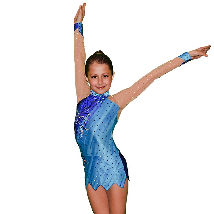 FlamingoSportswear - Sea Blue - Ice Skating - Gymnastics Leotard for Girls