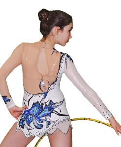 FlamingoSportswear - Rhythmic Gymnastics Leotard - White with Blue Flowers