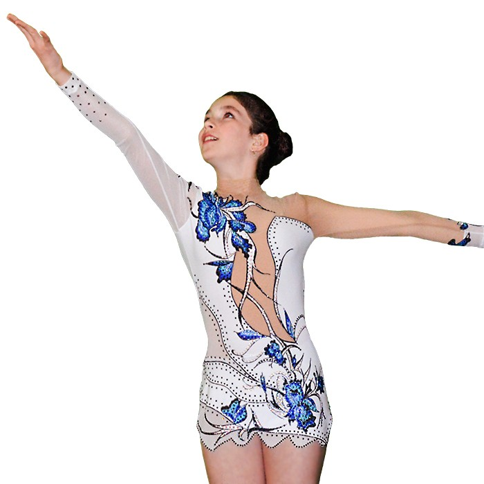 Rhythmic Gymnastics Leotard - White with Blue Flowers - FlamingoSportswear