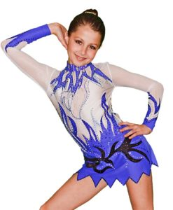 FlamingoSportswear - Ice Scating, Gymnastics Leotard for Girls - White - Blue