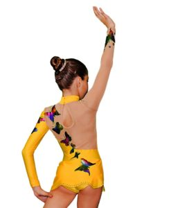 Yellow with Butterflies Girls Gymnastics Leotard
