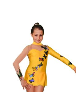 Girls Gymnastics Leotard - Yellow with Butterflies