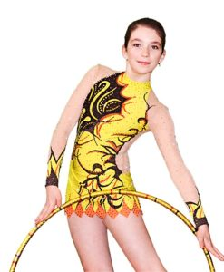 Girls Gymnastics Leotard Yellow-Black - FlamingoSportswear