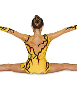 FlamingoSportswear - Girls Gymnastics Leotard - Yellow - Black