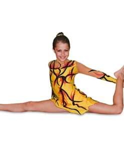 Girls Gymnastics Leotard - Yellow - Black - FlamingoSportswear