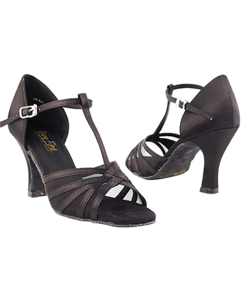 Very Fine Dance Shoes - 16612 - Black Satin-Black Mesh size 10 - 3-inch heel