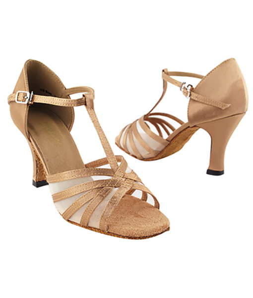 Very Fine Dance Shoes - 16612 - Brown Satin-Flesh Mesh size 10 - 3-inch heel