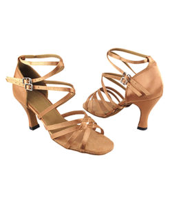 Very Fine Dance Shoes - 5008 - Brown Satin size 10 - 3-inch heel