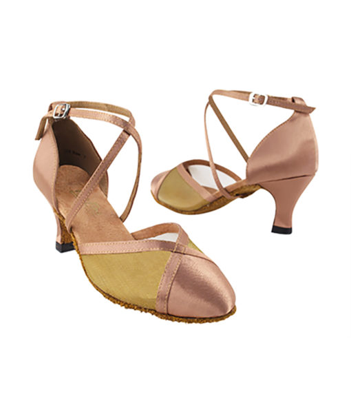 Very Fine Dance Shoes - 9622 - Brown Satin-Gold Mesh  2.5-inch Heel size 10 - 2.5-inch heel