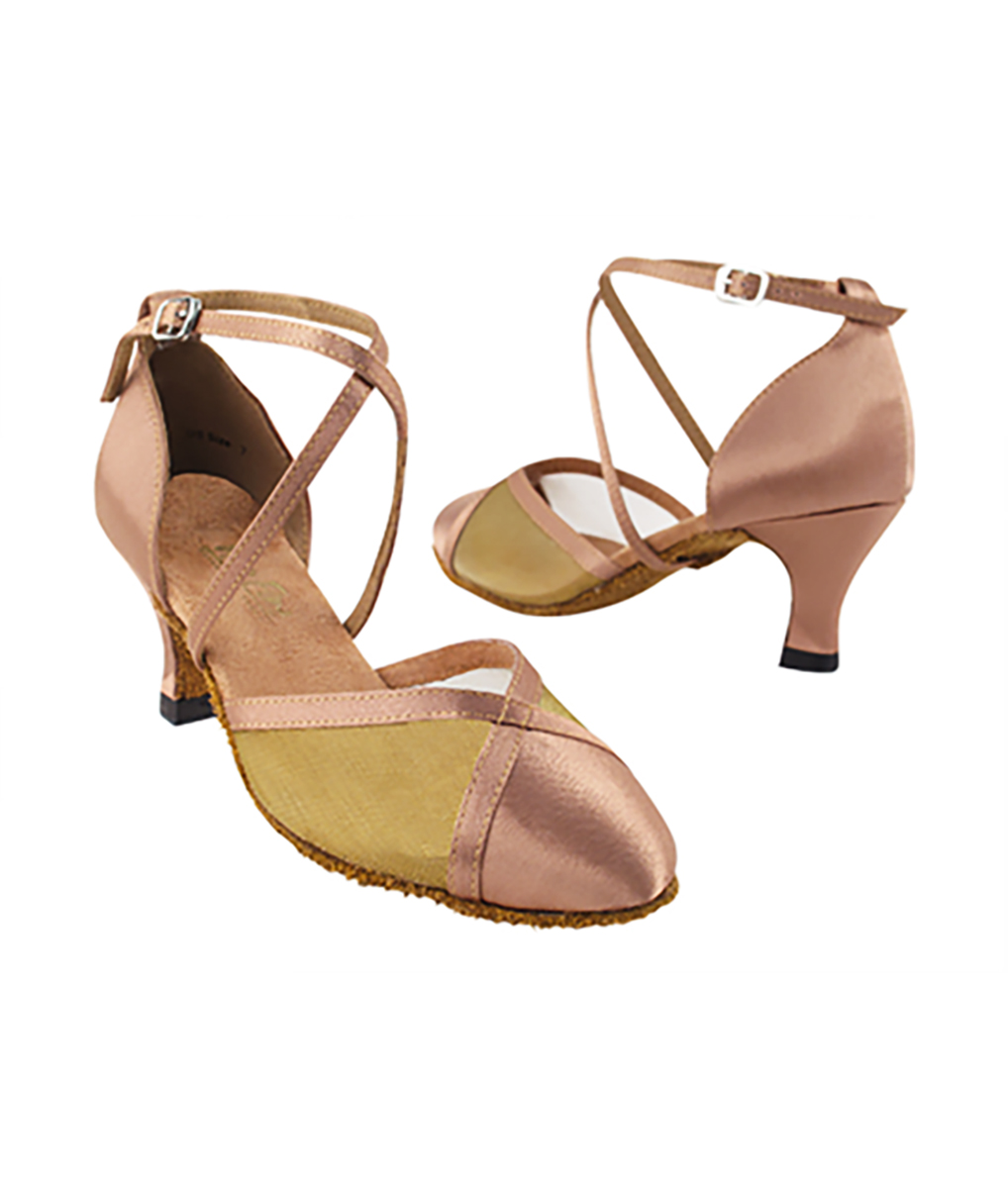 Very Fine Dance Shoes - 9622 - Brown Satin-Gold Mesh  2.5-inch Heel size 10 - 2.5-inch heel