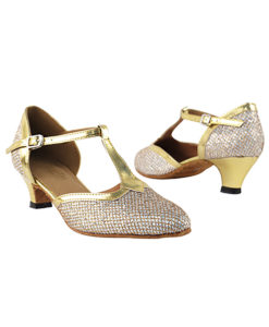 Very Fine Dance Shoes - 9627 - Gold Sparklenet-Gold Trim  1.3-inch Heel size 10 - 1.3-inch heel