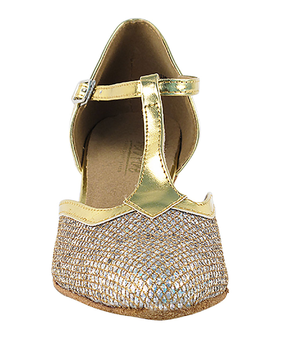 22c353821 Very Fine Dance Shoes - 9627 - Gold Sparklenet-Gold Trim 1.3-inch Heel. Very  ...