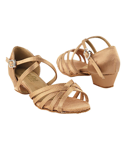 Very Fine Dance Shoes - 1670CG - Brown Satin size 4 Youth - 1.5-inch heel