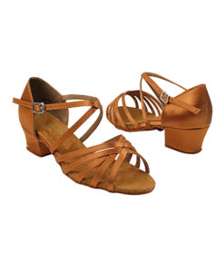 Very Fine Dance Shoes - 1670CG - Dark Tan Satin size 4 Youth - 1.5-inch heel